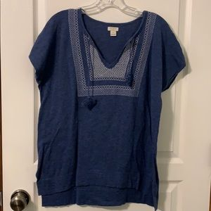 J Crew short sleeve embroidered top